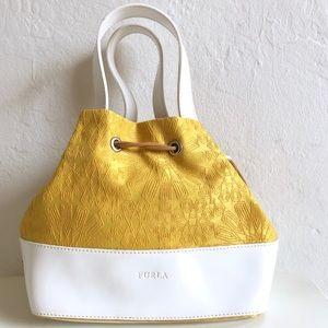NEW Furla Yellow White Mini Drawstring Bucket Bag